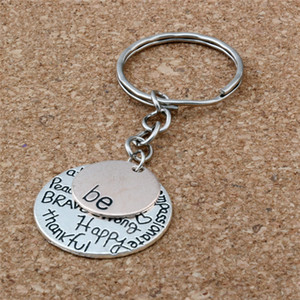 Wholesale MIC DIY Accessories Material Zinc Alloy quot Be quot Graffiti Happy Strong Thankfull Charm Band Chain key Ring
