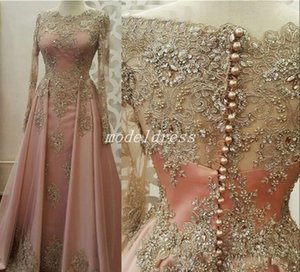 Wholesale Glamorous Blush Dubai Formal Evening Dresses Long Sleeve Jewel Sweep Train Appliques Beaded Special Occasion Dress Prom Party Gowns 2019