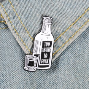 Miss Zoe Newspaper Wine bottle Enamel pin FAKE news TOOK DRUNK brooch Bag Clothes Lapel Pin Button Badge Jewelry Gift for friends