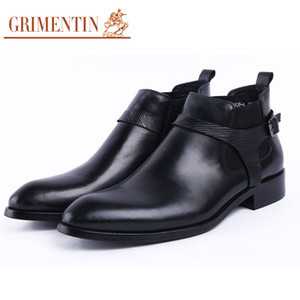 Wholesale GRIMENTIN Hot sale fashion boots genuine leather men dress boots Italian designer mens ankle boots black brown red brand business male shoes