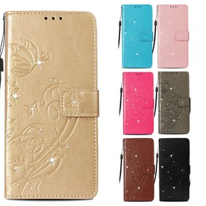 Bling Diamond Butterfly Design luxury Cases for iPhone XR XS Max 6s 7 8 Plus Leather Flip Cover Kickstand Wallet Case Women coque