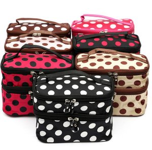 Wholesale Big Dots Makeup Bag Portable Travel Toiletry Storage Organizer With Mirror Double Layer Cosmetic Bag Wash Bag
