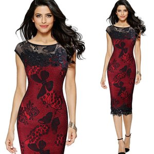 Wholesale Lace Dresses New Fashion Women Summer Dresses Sexy Sequins Crochet Butterfly Lace Party Bodycon Dress