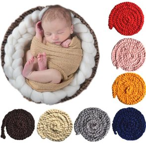 Wholesale Newborn Baby Crochet Throw Giant Knitted Blanket Super Yarn Photograph Decorative Blanket Super Chunky Knitting Blanket