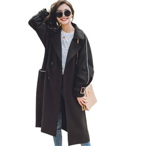 Wholesale 2018 Spring Double Breasted windbreaker Coats Woman Solid Long Sleeve Casual Long Outer Winter Work trench Coat for women YZ812