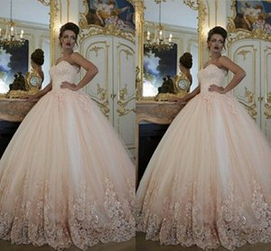 Custom Made Ball Gown Prom Dresses Strapless Lace Appliques Tulle Satin Sexy Sweep Train Quinceanera Gowns on Sale