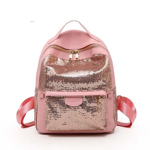 Wholesale 2018 Fashion Sequin Double Zipper PU Backpak Bag Black Silver Pink Women Travel Backpack Girls Shoulder School Bags