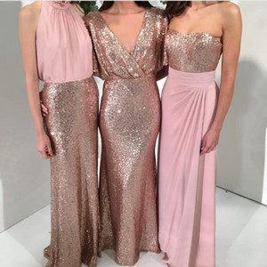 Wholesale New Fashion Rose Gold Sequined Chiffon Bridesmaid Dresses Long Elegant Three Style Maid Of Honor Gowns Custom Made From China EN2105