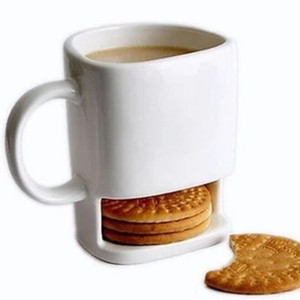 24 pcs Ceramic Milk Cups with Biscuit Holder Dunk Cookies Coffee Mugs Storage for Dessert Christmas Gifts Ceramic Cookie Mug