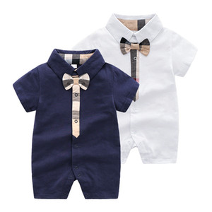 Wholesale Infant kids plaid romper baby boys girls lattice Bows tie short sleeve jumpsuits designer style Newborn baby cotton lattice clothes F1294