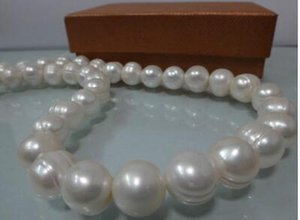 """Free shipping HUGE 9-10MM NATURAL SOUTH SEA WH BAROQUE PEARL NECKLACE 18"""""""