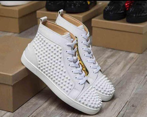 Wholesale 2018 Hot Sell Name Brand Red Bottom Sneaker Shoe Man Casual Woman Fashion Rivets High Top Men Dress Party Cheap Sneakers With Box
