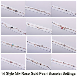 14 Styles Pearl Bracelet Settings Zircon & Rose Gold Bracelets For Women Settings Mounting Bracelet Blank DIY Jewelry DIY Gift