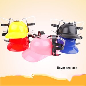 Wholesale New Fancy Gadget Lazy Drink Hat Beverage Holder Helmet Drinking Straws Plastic Handfree Beer Drinking Hat Party Favors Props