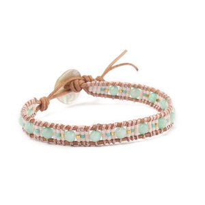 Wholesale JUJIE Hot Trendy Natural Stone bracelet For women leather crystal bracelet DIY hand woven Dropshipping