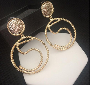 2018 Europe and the United States fashion catwalk models Digital 5 large circle earrings Personality exaggeration net red star earrings wome