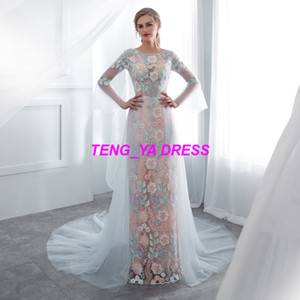 Wholesale 2018 Half Sleeves Sheath Flower Applique Lace Beaded Sweep Train Customized Made Evening Dress E010