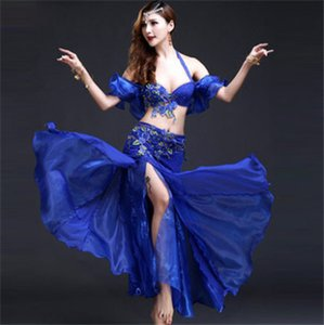 Wholesale New Stage Performance Oriental Belly Dancing Clothes Piece Set Bra Belt Skirt Handmade Beaded Belly Dance Dress Blue Red Rose