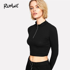 Wholesale ROMWE Ring Zip Up Front Ribbed Crop Tee Black Zipper Stand Collar T Shirt Fall Plain Long Sleeve Woman Top