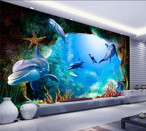 Wholesale Custom D Photo Wallpaper Scenery For Walls Ocean Seabed Cave Cartoon Dolphin Wall Mural Kids Wall Paper Children s Room Decor