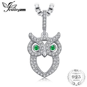 изумрудное ожерелье оптовых-JewelryPalace Green Eyed Owl ct Nano Russian Simulated Emerald Pendant Necklace Sterling Silver cm Box Chain