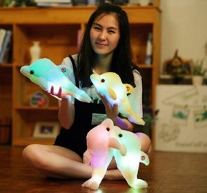 Wholesale 32cm Creative Light Up LED Dolphin Stuffed Animals Plush Toy Colorful Glowing Teddy Bear Christmas Gift for Kids