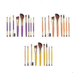 Wholesale wood makeup brush set resale online - 9 set wood handle Makeup Brushes Set Foundation Powder blush Brush Eye Shadow eyebrow lip make up brush Cosmetic Brush Blending Kits