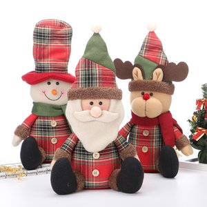 Wholesale Christmas Seatng Pose Plush Toys Snowman Santa Claus Deer Dolls Ornaments Hotel Shopping Malls Christmas Decorations Toy