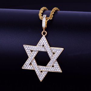 Wholesale New Hot Men s Hip hop Jewelry Gold Six horns Star Pendant Necklace Charm Bling Cubic Zircon Rope Chain For Gift