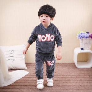 Wholesale BINIDUCKLING Cute Cartoon Cat Baby Boys Clothes Autumn Winter Hoodies Pants Set Gold Velvet Comfortable Sports Suit for Girls