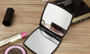 Hot sale with logo Folding double side mirror with gift box black makeup mirror Portable classic style