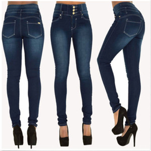 Wholesale Hot Women Ladies Jeans Women Denim Skinny Jeggings Jeans Pants High Waist Stretch Slim Pencil Trousers