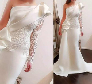 Wholesale Pure White Satin Mermaid Evening Dresses For Formal Wear One-Shoulder Lace Appliques Special Occasion Dresses Sexy Prom Dresses