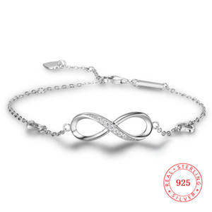Wholesale Genuine sterling silver endless bracelets valentine s day gift wedding CZ infinity bracelet infinite jewelry for girl women