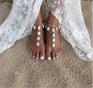 Wholesale shell feet for sale - Group buy Summer Shell Bridal Feet Ankle Bracelet Chain Beach Vacation Sexy Leg Chain Female Silver Anklet Foot Jewelry Chain Bridal Accessories