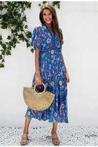 Wholesale Sexy floral print blue maxi dress Half sleeve tie up ethnic dress women Deep V neck tassel long dress holiday