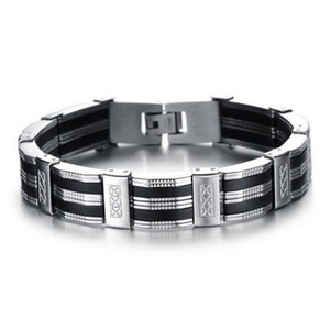 Wholesale Black Best Friends Bangles Made Of Silicone Mix Stainless Steel Bracelet Men Classic Luxury Man Bracelets Fashion Male Jewelry
