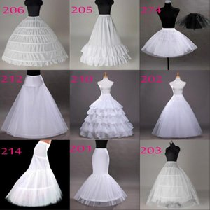 Free Shipping 10 Styles White A-Line Balll Gown Mermaid Wedding Party Dresses Underskirts Slips Petticoats With Hoop Hoopless Crinoline