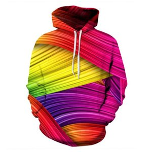 Wholesale The new fashion explosion of digital printing long sleeved Hoodie baseball uniform 3D printing color gradient pattern of