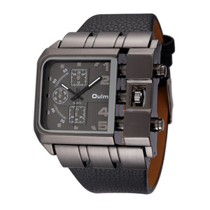 Wholesale OULM Brand Original Unique Design Square Men Wristwatch Wide Big Dial Casual Leather Strap Quartz Watch Male Sport Watches