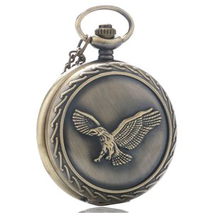 Wholesale Vintage Bronze Cool Eagle Hawk Quartz Pocket Steampunk Watch Men Women Necklace Pendant with Chain Birthday Gifts
