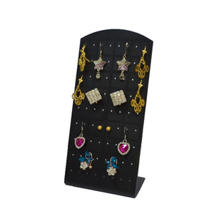 Wholesale Fashion Jewelry Display Earring Stand Holder Black Acrylic Holes Pairs Earrings Display Hook Earring Storage Box