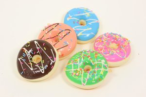 Wholesale 100pcs cm Kawaii squishy colorful donut rare Squishy Bun soft Mobile Phone Pendant mix color order cheap sale