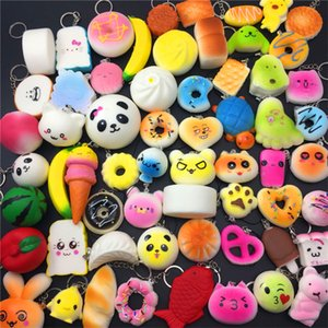 Wholesale Kawaii Squishy Rare Jumbo Squishies Panda Bread for Keys Phone Strap Mobile Phone Charm Toys Pendant Keychains Cell Phone Accessories Toy