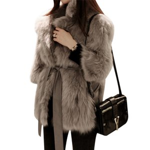 Wholesale Thick Warm Womens Luxury Mink Coats Fluffy Faux Fur Jacket Fake Rabbit Fur Coat Manteau Fourrure Femme Plus Size Winter C18111501