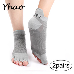 Wholesale 2 Pairs Yhao High Quality Women Good Grip Yoga Socks Anti Skidding And Breathe Freely Dance Pilates Trampoline Socks
