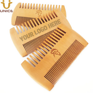MOQ 50pcs Amazon Hot Sale Fine & Coarse Teeth Double Sides Wood Combs Custom LOGO Wooden Hair Comb Dual Sided Men Beard Comb