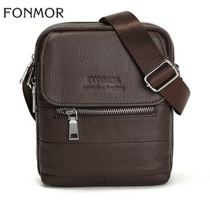 Wholesale FONMOR New Multifunction High Quality Men Bags Fashion British Style Genuine Leather Zipped Shoulder Messenger Bag