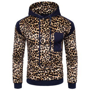 Wholesale Leopard Decoration Hoodie Men Fashion Patchwork Hooded Tracksuit Harajuku Long Sleeve Mens Hoodies Sweatshirt Punk Rock Pullover