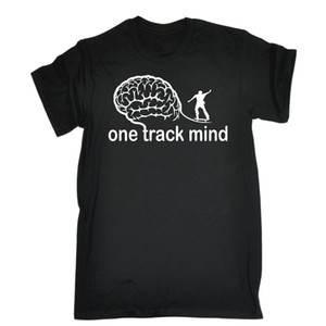 Wholesale One Track Mind Skate T SHIRT Skating Skater Board Tee Top Funny birthday gift Printed T Shirt Boys